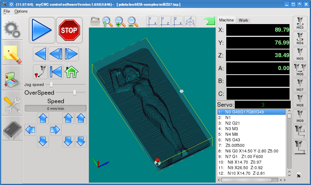 myCNC-6D software version 1.35 screenshot