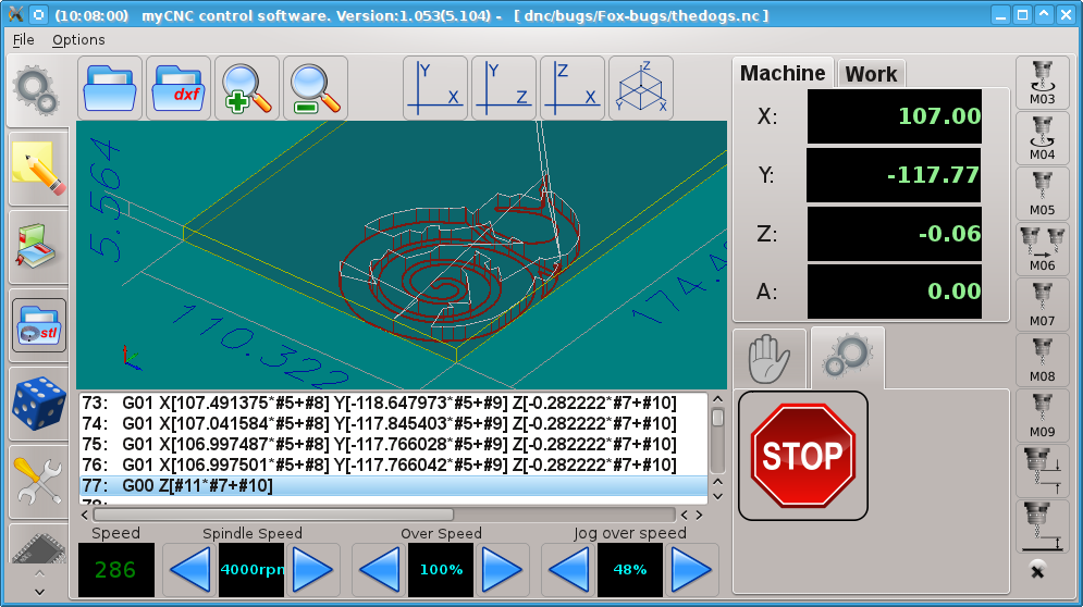 myCNC control software screenshot